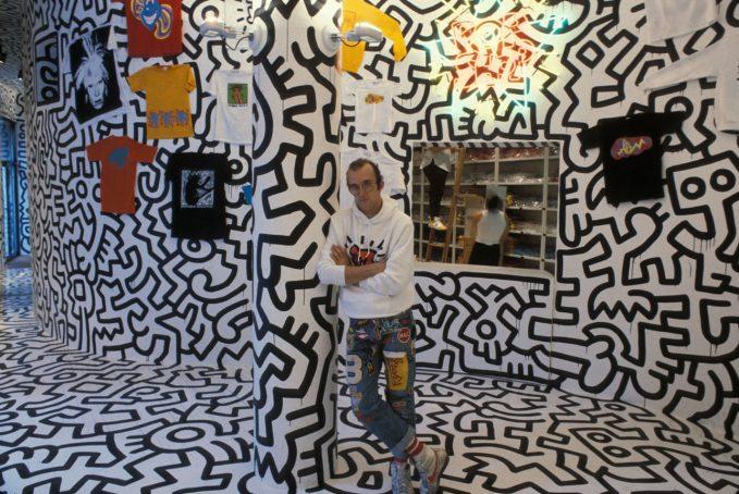 Keith Haring in his Pop Shop