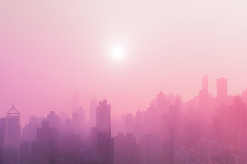 A hazy pink skyline