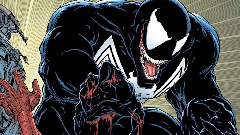 A picture of Venom terrorising Spider-Man
