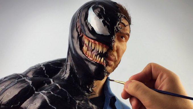 A Venom/Eddie Brock sculpture timelapse video