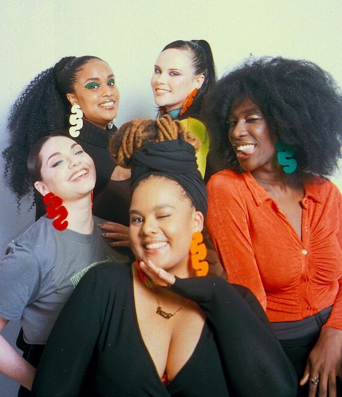 Sophia Tassew with 4 models wearing Khula earrings