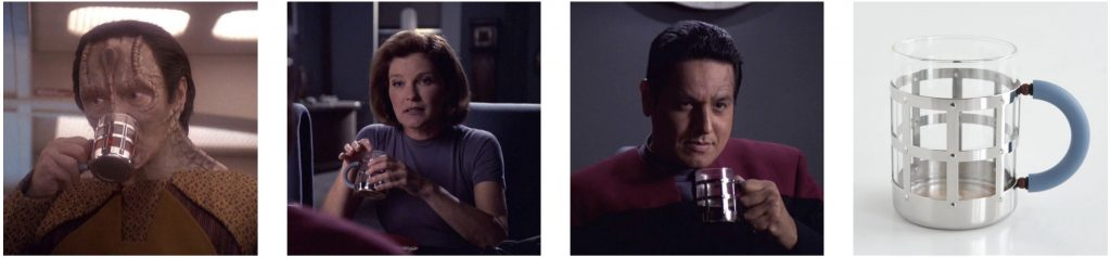 Garak, Captain Janeway, and Chakotay holding a MGMug designed by Michael Graves for Alessi.